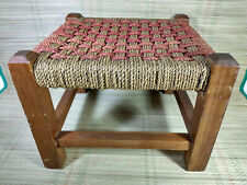 Vintage Wooden Foot Stool - Square - Rattan / Rush Top - Red