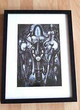 Original HR Giger Alien Kunstdruck H.R Giger  im Holz Rahmen 33x44cm NEU 2 Ladys
