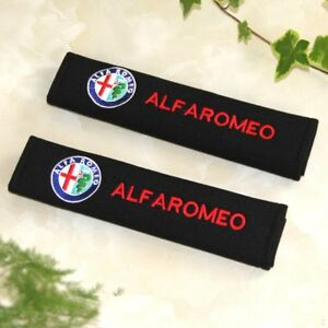 2x Embroidery For Alfa Romeo Cotton Black Seat Belt Cover Shoulder Pad NEW