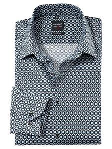 Olymp Herren Business Hemd Bodyfit Langarm Muster Kentkragen blau schwarz HH1