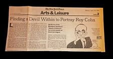 AL HIRSCHFELD HAND SIGNED AUTOGRAPHED 1993 NEWSPAPER ARTICLE VERY RARE WITH COA