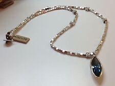 NWT Uno de 50 Silvertone Necklace w/ Marquis Cut Blue Swarovski