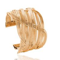 Retro Women Gold Tone Alloy Bangle Cuff Bracelet Punk Handmade Wristband Jewelry