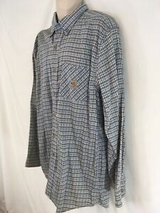 Carhartt Mens XL Blue Plaid Cotton/Nylon Canvas Work Shirt