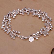 Plaqué Argent Laiton Boule Charm bracelets pour femmes avec Homard Fermoirs 190 mm