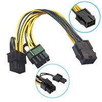 R01 18cm 6 pin PCIe auf 2x 8pin (6+2) Grafikkarte Stromkabel PCI-Express Adapter