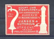 NEDERLAND LABEL POSTER STAMP BEER BIER BIERPOMPEN JANSEN @ SUTORIUS URECHT ±1900