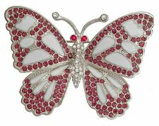 Brooch with crystals The Butterfly 4.6 x 3.2 cm pink #0748-09