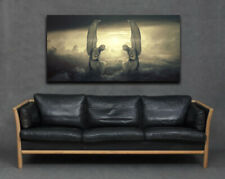 Guardian Angels Clouds Fantasy Modern Large Canvas Print Wall Art Religious