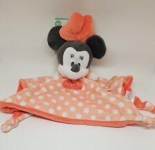 Doudou Plat  Minnie Rose Saumon Orange pois blanc HELLO noeuds Disney  NEUF