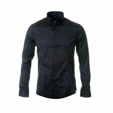 Armani Men's No Pattern Long Sleeve Collared Casual Shirts & Tops