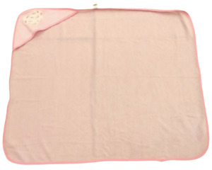 """BABY KISS HOODED BABY TOWEL; pink w/ heart love, 29"""" x 25"""""""