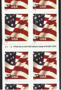 #3636c (BC183) Flag 37c DS Booklet Pane/20, Partial Vertical Die Cut Shift-LOOK!