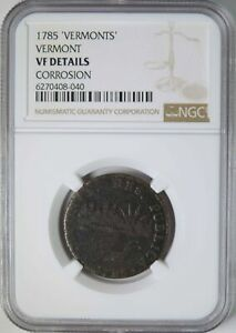 1785 Vermont 'Vermonts' Variety Colonial Copper One Cent NGC Graded VF Details