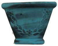 Terra Cotta Blue/Gold Glazed Pottery Tapered Square Planter