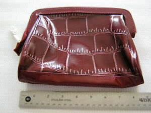 Lancome Maroon Zippered Makeup Cosmetic Bag Faux Leather