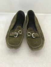 Prada Green Suede Loafer with Buckle on Front