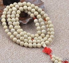 Light Yellow White Lotus Seeds 108 8mm Bodhi Prayer Beads Buddha Mala Necklce