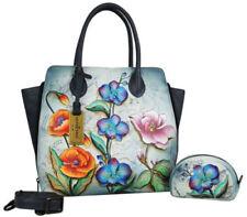 Anuschka Leather Floral Fantasy Expandable Convertible Tote Cross Body Handbag