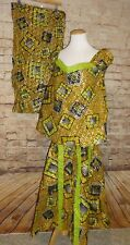 Green Gold Traditional Ethnic Clothing Women Suit African 3 PC Suit Skirt Set