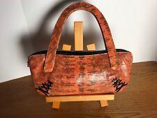 Vintage Nwot Johnny Farah Orange And Black Lizard Skin Handbag
