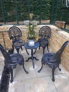 Set of 4 cast iron aluminium victorian style garden chairs