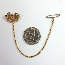Antique V Small 9ct Gold Naval Crown Coronet Brooch by Charles Horner Marked 9ct