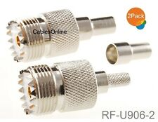 2-Pack UHF SO239 Female Crimp On Connector for RG58 RG142 LMR195 LMR200 Cable