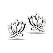 925 Sterling Silver LOTUS FLOWER Earrings Stud Yoga Jewelry posts