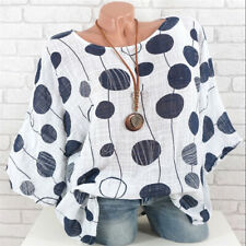 Womens Polka Dot T-Shirt Blouse Summer Boho Loose Casual Baggy Top Plus Size