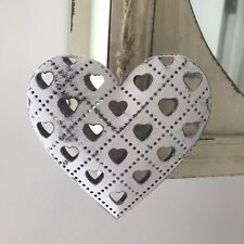 Shabby Chic White Metal  Hanging Heart Home Decoration