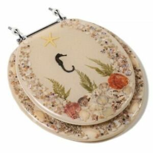 Seahorse and Shells Acrylic Round Toilet Seat  C2B6R9SHCH - Comfort Seats