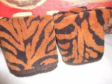 ZEBRA PRINT STRIPE ANIMAL BLACK & AMBER VELOUR (PAIR) HAND TOWELS 15 X 24