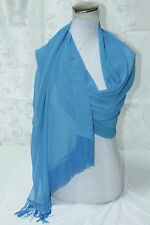 Stola in CHIFFON con FRANGIA color AZZURRO - TURCHESE - 2,00 x 0.70 mt