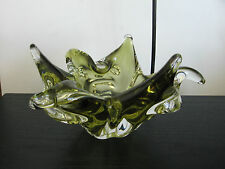 Signed Chalet Spikey Olive Green Art Glass Sculpture Dish