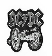 ACDC SILVER BLACK CANNON Iron on / Sew on Patch Embroidered Badge Music PT116