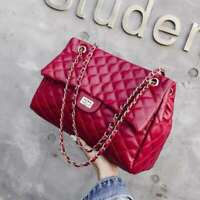 Women Quilted Chain Bag PU Shoulder Bag Crossbody Handbag Messenger Tote Bags