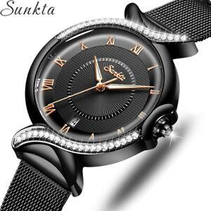 Luxury Brand Round Crystal Black Watch Wristwatch Xmas Gifts For Her Lady Women