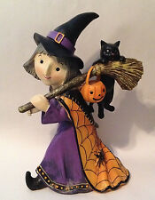 "NEW Trick or Treat WITCH GIRL with Black Cat Figurine Statue Halloween 14"" tall"