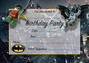 #4 BATMAN AND ROBIN Pack of 10 kids children birthday party INVITATIONS