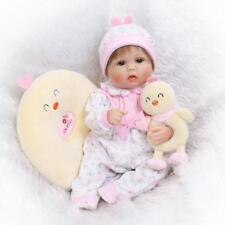 "17""Realistic Hair Rooted Lifelike Newborn Soft Vinyl Silicone Baby Reborn Dolls"
