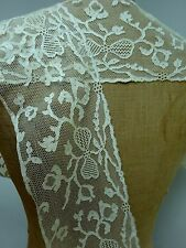 Fine Antique Lace Dress Trim Edge Border Handmade Needle Interesting Pattern Net