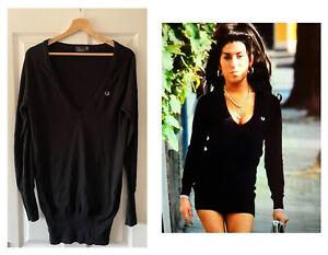 FRED PERRY X AMY WINEHOUSE BLACK JUMPER DRESS COTTON CASHMERE UK 12 USA 8 EU 40