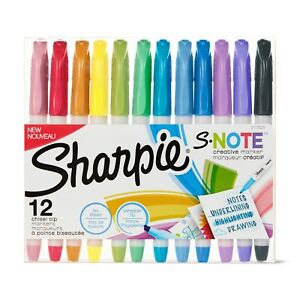 Sharpie S Note Markers Highlighter Pastel Chisel Broad Tip Draw 12 Count School