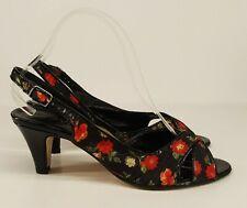 Lavorazione Artigiana Ladies Heels UK 5 Black Floral Fabric Slingbacks Red Roses