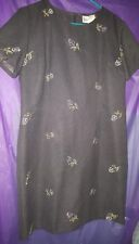 Victoria Holley Dress, Size 14P, Grey short Sleeves floral embroidery