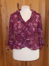 KALEIDOSCOPE burgundy pink floral chiffon 3/4 sleeve blouse jacket top 16 BNWOT