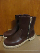 Swedish Hasbeens Italy $459 T-bird Bordeaux Leather Zip Ankle Boots 40 9 9.5 APC