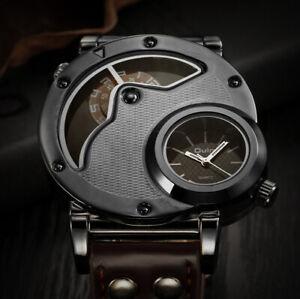 Designed by Oulm - 49mm Men's Unique Two-Timezones Quartz Designer Watch