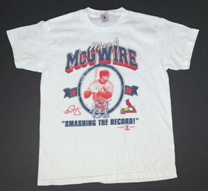 KIDS Vintage 90s St Louis Cardinals Mark Mcgwire T-Shirt Size Youth L White MLB